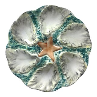Antique French Majolica Oyster Plate-Starfish Design