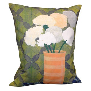 Green Lattice Floral Linen Pillow