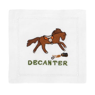 """Decanter"" Embroidered Cocktail Napkins - S/4"