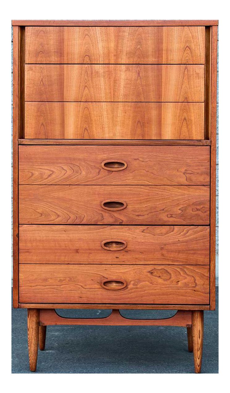 Dixie Mid Century Modern Highboy Dresser