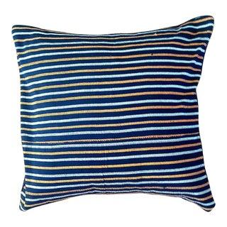 African Stripe Indigo Woven Pillow