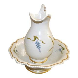 Flight & Barr Worcester Botanical Porcelain Ewer and Basin