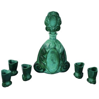 Art Deco Boho Malachite Glass Decanter Set - Set of 6