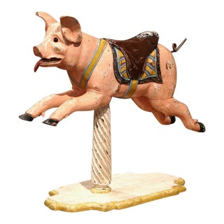 19th Century French Carved Painted Carousel Pig