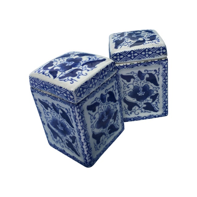 Vintage Chinoiserie Square Ginger Jar - Pair - Image 1 of 7