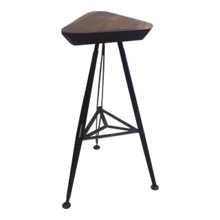 Vintage Walnut and Steel Bar Stool