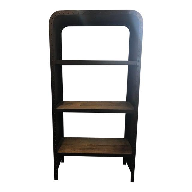 Industrial Steel & Teak Bookcase - Image 1 of 4