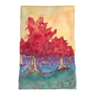 Autumn Trees Watercolor Painting