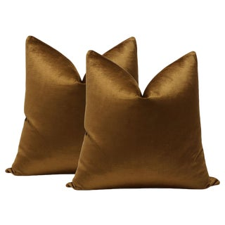 "22"" Cognac Luxe Velvet Pillows - A Pair"