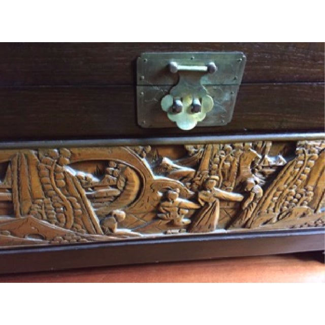 Image of Japanese Hand-Carved Wooden Trunk
