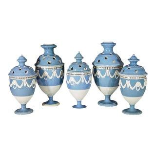 18th-Century Dipped-Ware Pearlware Sky Blue Garniture of Five Vases & Covers