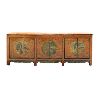 Chinese Orange Asian Scenery Long Sideboard Buffet Cabinet