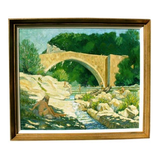 """By the River, Roman Bridge, Provence"" Painting"