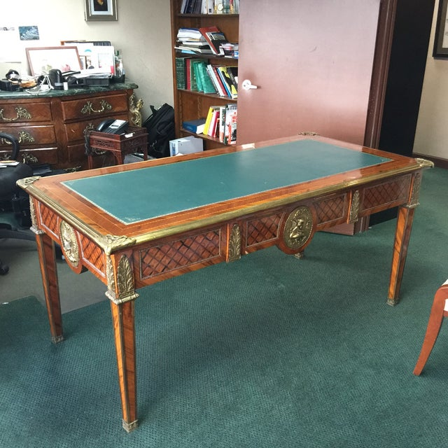 Vintage Green Top Wooden Desk - Image 2 of 6