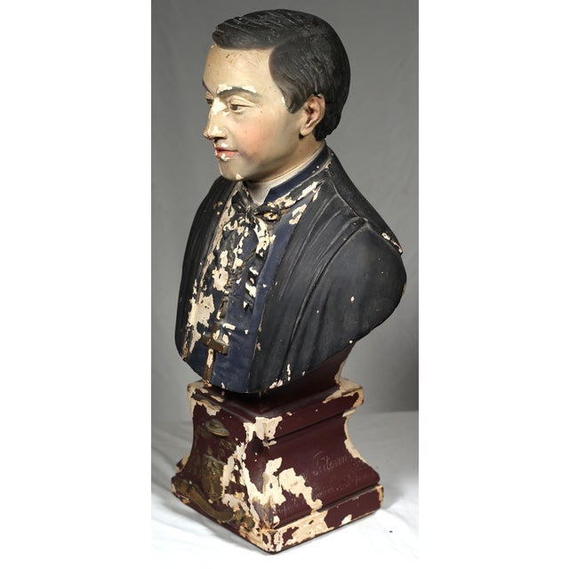 Image of 19th Century French Monsignor Plaster Bust