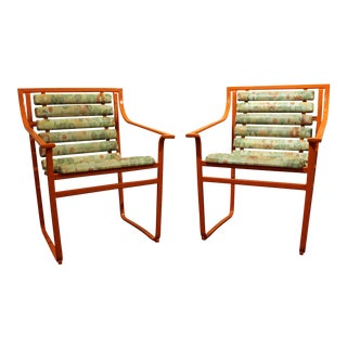 Samsonite Mid-Century Outdoor Scoop Seat Arm Chairs - A Pair