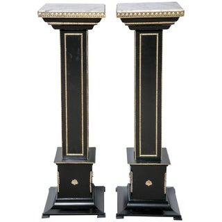 Maison Jansen Bronze Ebonized Pedestals - A Pair