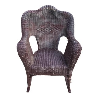 Boho Large Vintage Wood Wicker Rocking Chair