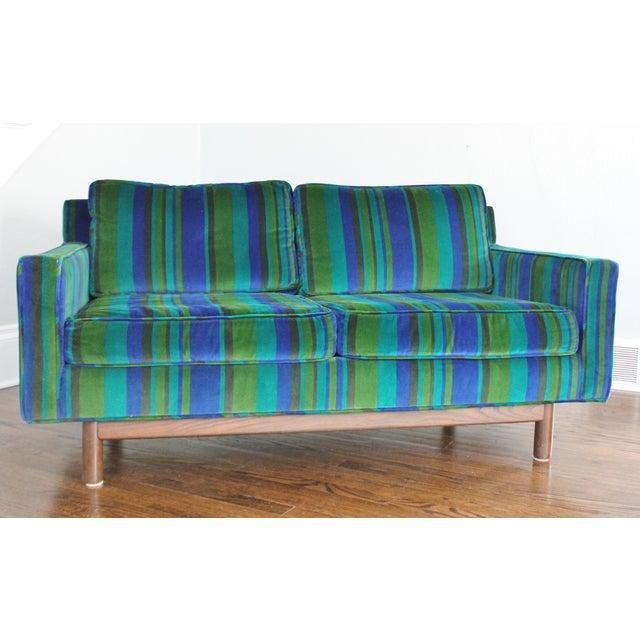 Vintage Mid Century Blue Green Velvet Sofa Chairish