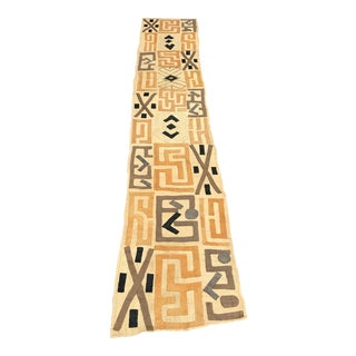 "African Tribal Art Handwoven Kuba Cloth From DRC - 9'8"" X 1'9"""