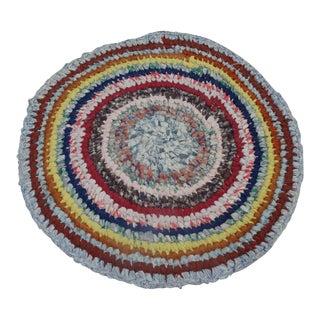 "Swedish Vintage Handwoven Rag Rug --2'3"" x 2'3"""
