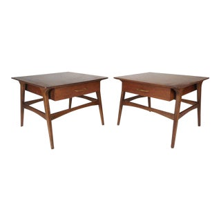 Vintage Modern Walnut Nightstands - A Pair