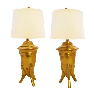 Mid-Century Chic Brass Tripod Lamps - A Pair