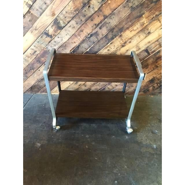 Image of Vintage Stainless & Faux Wood Rolling Bar Cart