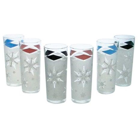 Mid-Century Snowflake Drinking Glasses - 6 - Image 1 of 6