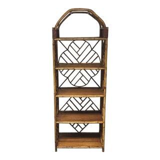 Vintage Bamboo Five Shelf Display Case