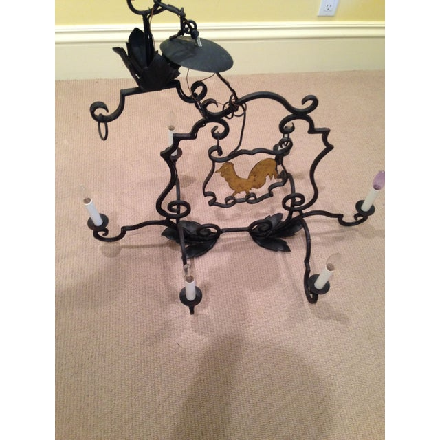 French Antique Rooster Sign Chandelier