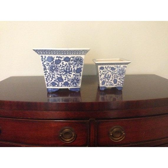 Image of Blue & White Chinoiserie Square Planters - A Pair