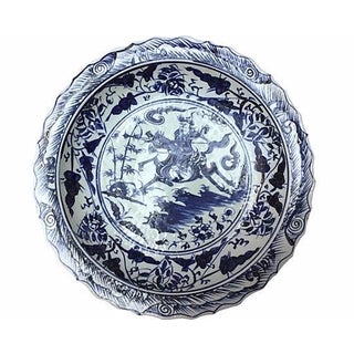 Blue & White Bowl With Chinese Warrior