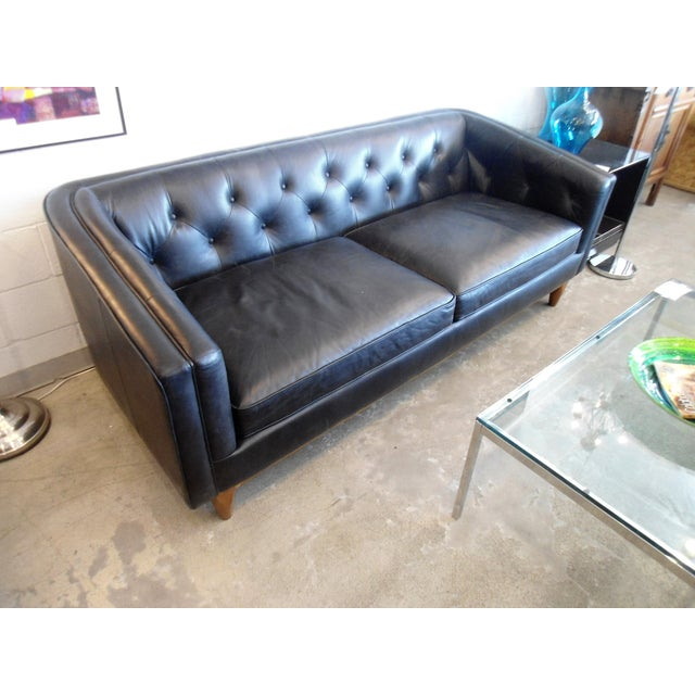 Tufted oxford leather article alcott sofa chairish for Oxford tufted sectional sofa