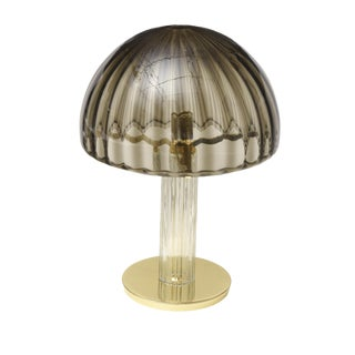 Italian Murano Vistosi Glass and Polished Brass Dome Table/Desk Lamp