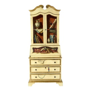 Italian Tromp l'Oiel Hand-Painted Secretary Desk