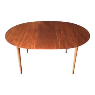 Mid-Century Modern Round Walnut Refinished Dining Table