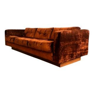 1970s Crushed Velvet Floating Platform Sofa