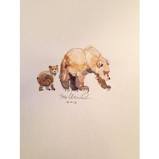 Contemporary Bear Cub & Mom Watercolor Painting
