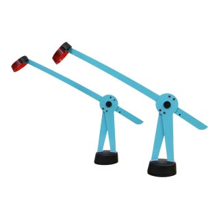 Blue & Red Flos Pierrot Lamps - A Pair