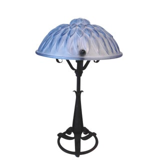 1920/30 Iron Table Lamp With Blue Glass Shade
