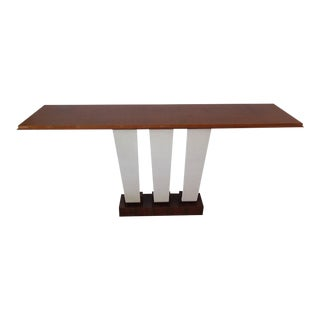 Exotic Macassar Ebony and Goatskin Console Table Attr to Dominique
