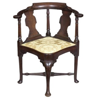 Mahogany Queen Anne Corner Chair with Horseshoe Seat