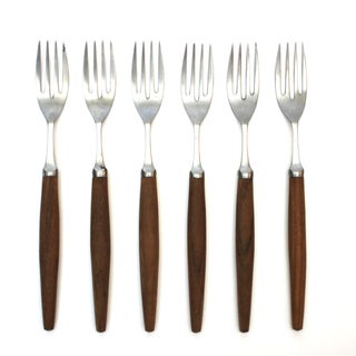 Teak-Handled Italian Dessert Forks - Set of 6