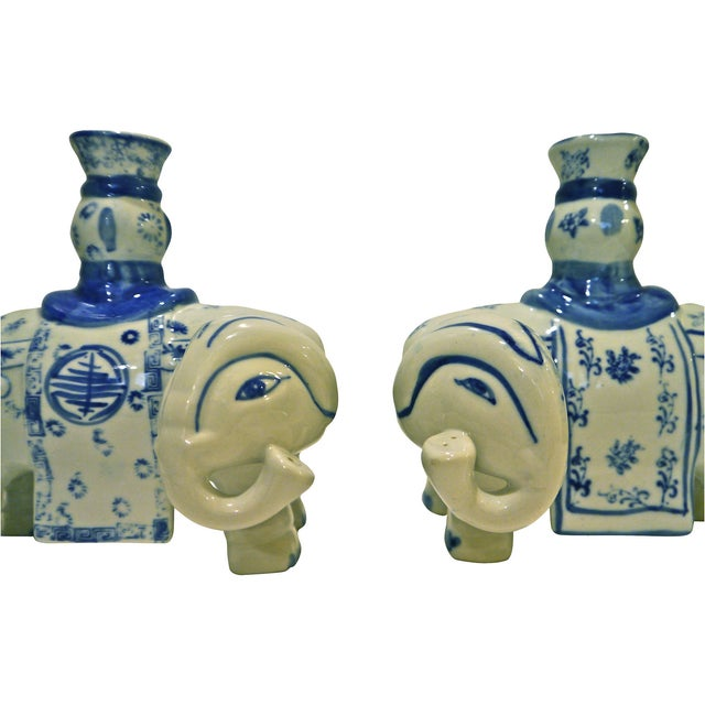 Blue & White Elephant Candleholders - A Pair - Image 2 of 6