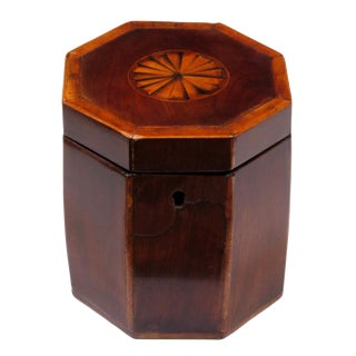 Shapely English Georgian Octagonal Lidded Tea Caddy with Shell Inlay