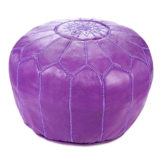 "Moroccan Violet Leather Pouf - 19"" x 14"""