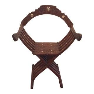 Syrian Bone Inlaid Savonarola Chair
