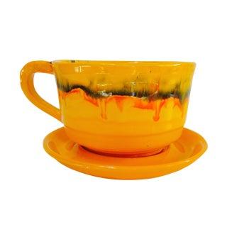Vintage Orange Drip Glazed Cup & Saucer Planter