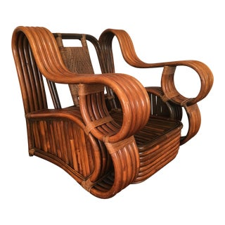 Rare And Unique Paul Frankl Style Rattan Club Chair
